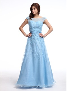 A-Line/Princess Off-the-Shoulder Floor-Length Taffeta Organza Prom Dress With Beading Flower(s) Sequins (018025279)