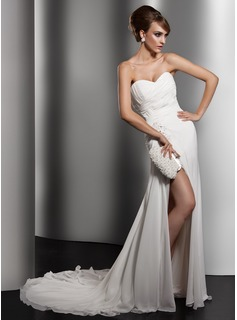 Sheath/Column Sweetheart Chapel Train Chiffon Wedding Dress With Ruffle Lace Beadwork Sequins (002011415)