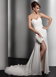 A-Line/Princess Sweetheart Chapel Train Chiffon Wedding Dress With Ruffle Lace Beading Sequins Split Front