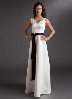 Vestidos princesa/ Formato A Decote V Longos Cetim Vestido de madrinha com Cintos Curvado