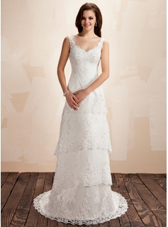 A-Line/Princess V-neck Court Train Satin Lace Wedding Dress With Beadwork (002000223)