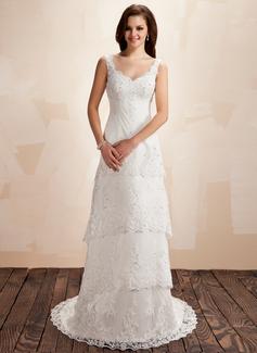 Corte A/Princesa Escote corazón Cola corte Satén Tul Vestido de novia con Encaje Bordado