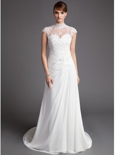 Sheath/Column High Neck Court Train Chiffon Tulle Wedding Dress With Ruffle Lace Beadwork (002012176)