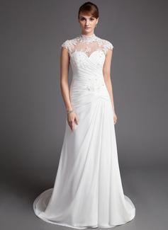 A-linjeformat Hög hals Domstolen Tåg Chiffong Tyll Bröllopsklänning med Rufsar Spetsar Pärlbrodering