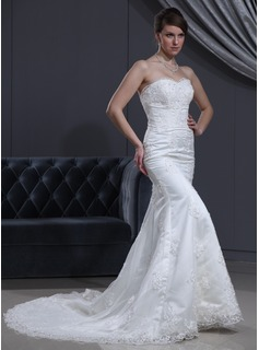 Mermaid Sweetheart Chapel Train Satin Tulle Wedding Dress With Lace Beadwork (002000167)