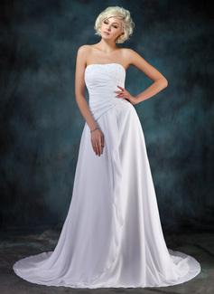 A-Line/Princess Sweetheart Court Train Chiffon Wedding Dress With Beading Appliques Lace Cascading Ruffles