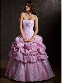 Ball-Gown Strapless Floor-Length Taffeta Wedding Dress With Ruffle Lace Beading