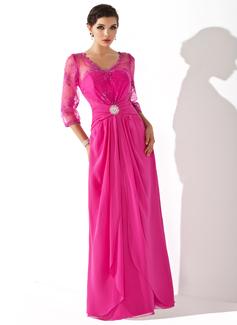 Vestidos princesa/ Formato A Decote V Longos De chiffon Renda Vestido para a mãe da noiva com Pregueado Babados em cascata