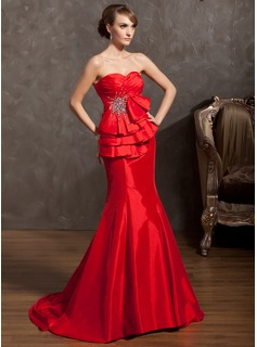 Mermaid Sweetheart Court Train Taffeta Prom Dress With Ruffle Beading (018014898)