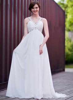 Empire V-neck Sweep Train Chiffon Wedding Dress With Ruffle Beading