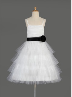 A-Line/Princess Square Neckline Knee-Length Tulle Charmeuse Flower Girl Dress With Ruffle Sash