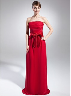 A-Line/Princess Strapless Sweep Train Chiffon Charmeuse Holiday Dress With Ruffle Sash (020015040)