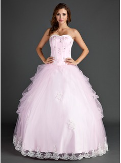 Ball-Gown Sweetheart Floor-Length Organza Satin Quinceanera Dress With Lace Beading Sequins (021015586)