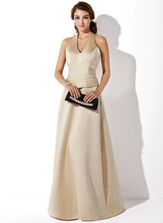 A-Line/Princess Halter Floor-Length Satin Bridesmaid Dress