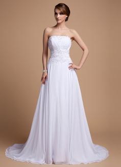 Corte A/Princesa Estrapless Cola corte Chifón Vestido de novia con Bordado Lentejuelas Cascada de volantes