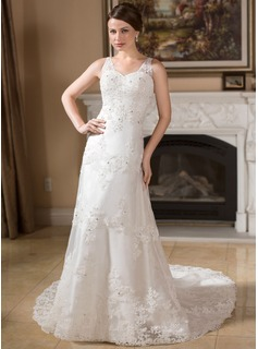 A-Line/Princess V-neck Court Train Organza Satin Wedding Dress With Lace Beadwork (002000383)