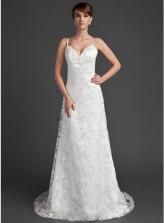 A-Line/Princess V-neck Sweep Train Satin Lace Wedding Dress With Beadwork (002000220)