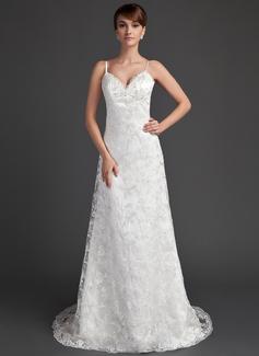 Corte A/Princesa Escote corazón Barrer/Cepillo tren Satén Encaje Vestido de novia con Bordado