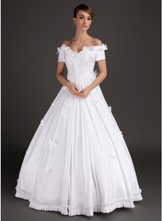 Ball-Gown Off-the-Shoulder Floor-Length Satin Wedding Dress With Lace Beadwork Flower(s) (002015489)