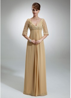 Império Decote V Longos De chiffon Tule Vestido para a mãe da noiva com Pregueado Lantejoulas