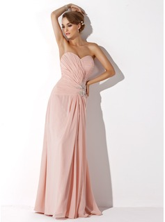 A-Line/Princess Sweetheart Floor-Length Chiffon Mother of the Bride Dress With Ruffle Lace Beading Split Front