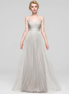 A-Line/Princess V-neck Floor-Length Tulle Bridesmaid Dress