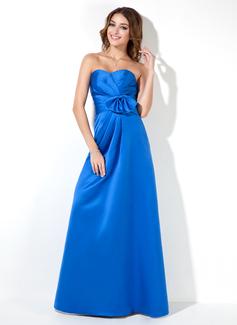 Empire Sweetheart Floor-Length Satin Bridesmaid Dress With Ruffle Bow(s)