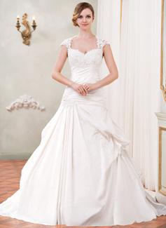 De baile Coração Cauda longa Tafetá Tule Vestido de noiva com Pregueado Renda Bordado Lantejoulas