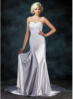 Sheath/Column Sweetheart Watteau Train Charmeuse Wedding Dress With Lace Beadwork