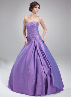Duchesse-Linie Trägerlos Bodenlang Taft Quinceañera Kleid (Kleid für die Geburtstagsfeier) mit Perlen verziert Applikationen Spitze Gestufte Rüschen