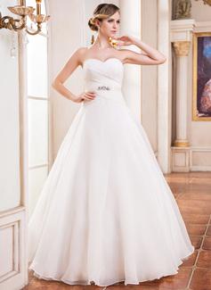 Corte de baile Escote corazón Hasta el suelo Organdí Satén Vestido de novia con Volantes Bordado Lentejuelas