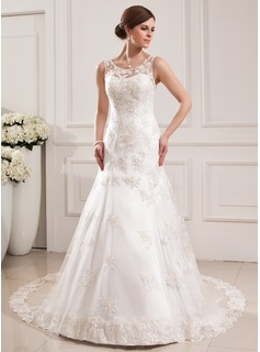 Trumpet/Mermaid Scoop Neck Cathedral Train Satin Tulle Wedding Dress With Lace
