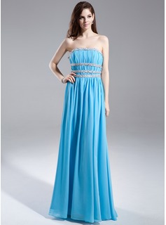 A-Line/Princess Strapless Floor-Length Chiffon Charmeuse Prom Dress With Ruffle Sash Beading