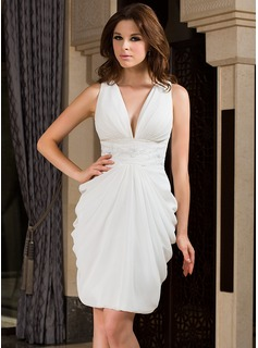Sheath V-neck Knee-Length Chiffon Cocktail Dress With Ruffle Beading