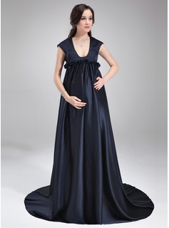Empire Scoop Neck Court Train Maternity Bridesmaid Dress With Ruffle (045022548)