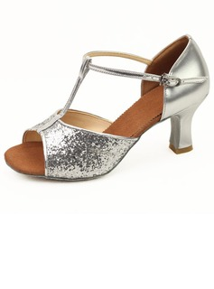 Sparkling Glitter Heels Latin Ballroom Dance Shoes With T-Strap (053011481)