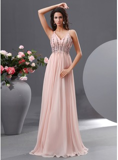 A-Line/Princess V-neck Floor-Length Chiffon Prom Dress With Ruffle Beading Sequins (018022729)