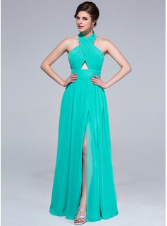 A-Line/Princess Halter Floor-Length Chiffon Holiday Dress With Ruffle Split Front