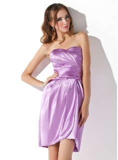 Sheath Sweetheart Short/Mini Charmeuse Cocktail Dress With Ruffle (016008297)