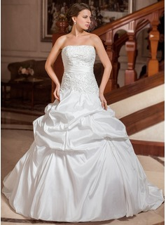 Ball-Gown Strapless Court Train Taffeta Wedding Dress With Embroidery Ruffle Beadwork