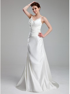 Sheath/Column V-neck Court Train Satin Wedding Dress With Ruffle Lace Beadwork (002011714)