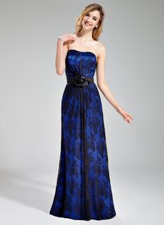 Sheath/Column Sweetheart Floor-Length Charmeuse Lace Bridesmaid Dress With Flower(s)