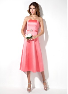 A-Line/Princess Strapless Tea-Length Satin Bridesmaid Dress With Beading