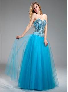 A-Line/Princess Sweetheart Floor-Length Satin Tulle Prom Dress With Beading (018018883)