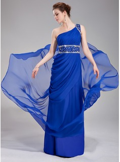 A-Line/Princess One-Shoulder Court Train Chiffon Evening Dress With Ruffle Beading Sequins