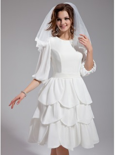A-Line/Princess Scoop Neck Knee-Length Chiffon Wedding Dress With Ruffle
