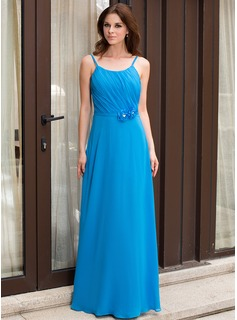 A-Line/Princess Scoop Neck Floor-Length Chiffon Bridesmaid Dress With Ruffle Beading Flower(s)