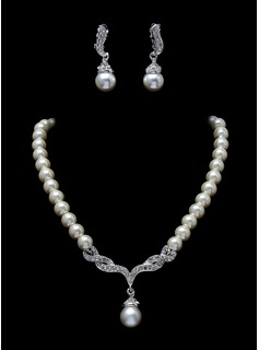 Jewelry Sets Anniversary Wedding Engagement Birthday Gift Party Daily Alloy With Rhinestones Silver Jewelry With Pearl Rhinestone (011017283)