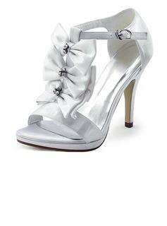 De mujer Satén Tacón stilettos Plataforma Sandalias con Del bowknot Diamante de imitación