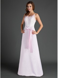 Sheath Scoop Neck Floor-Length Satin Lace Bridesmaid Dress (007015500)